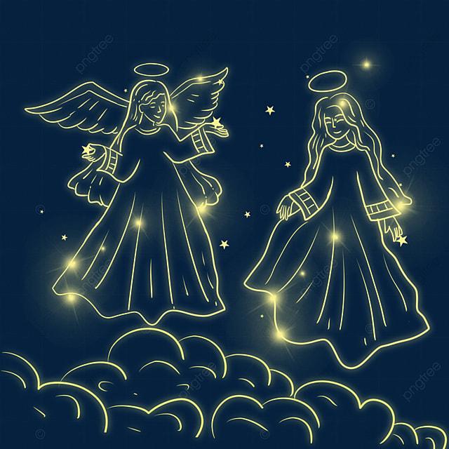 hand drawn christmas glowing angel
