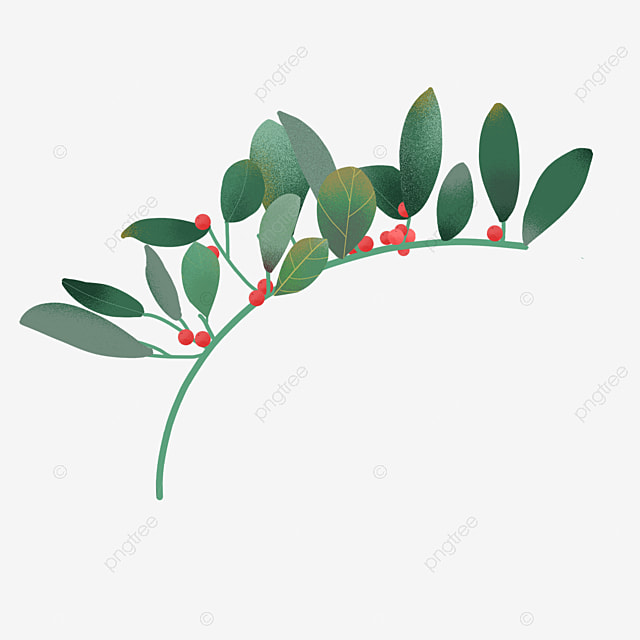 hand painted holly decorative branches
