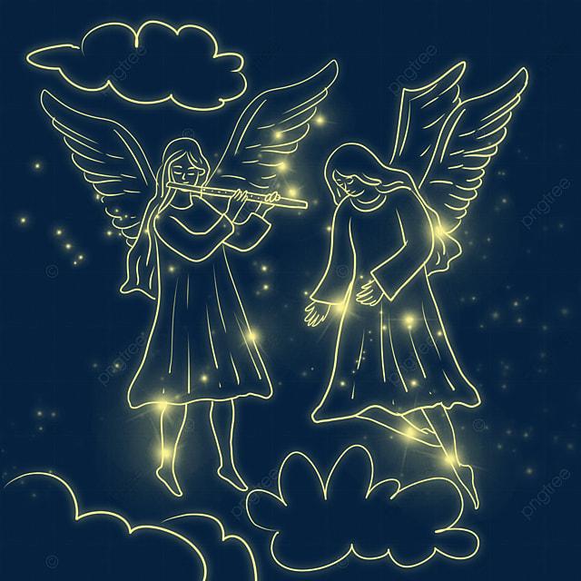 yellow christmas glowing angel