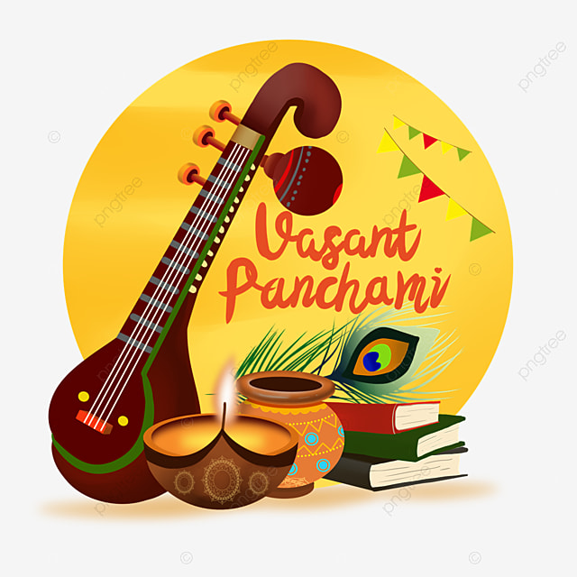 indian festival vasant panchami sitar and books