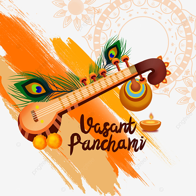 indian festival vasant panchami sitar and brush background
