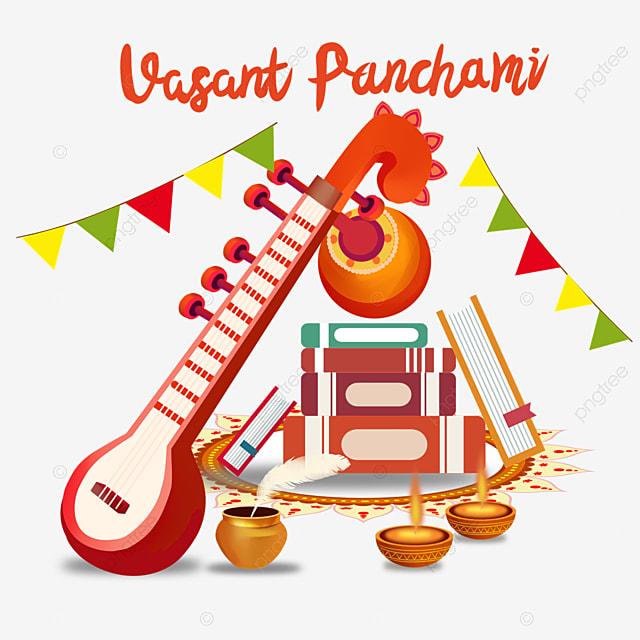 indian festival vasant panchami sitar and bunting