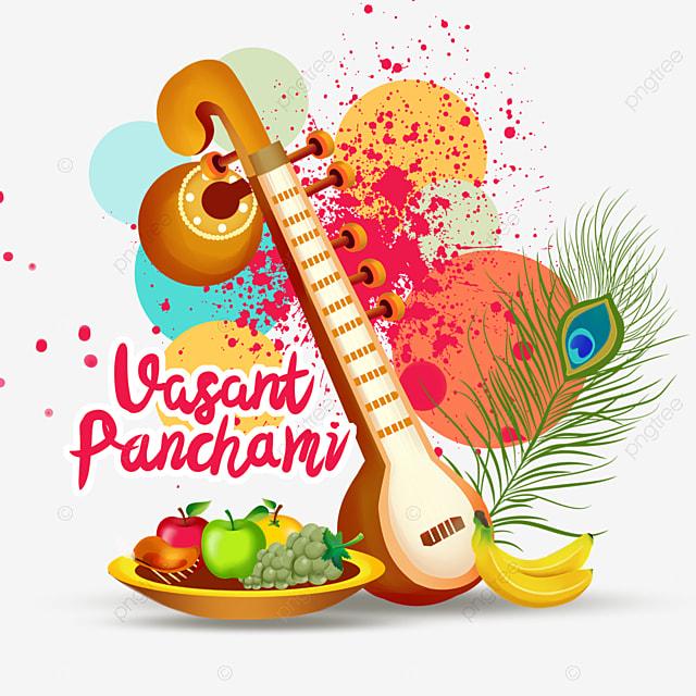 indian festival vasant panchami sitar and colorful splash background