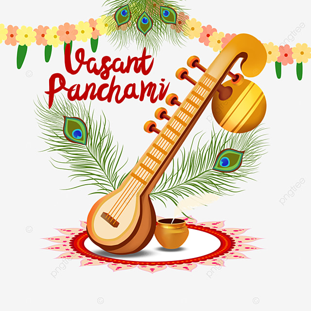 indian festival vasant panchami sitar and flowers
