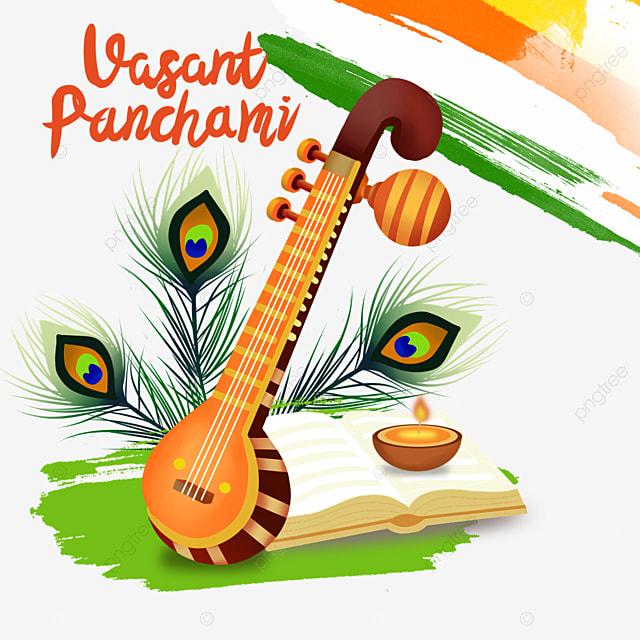 indian festival vasant panchami sitar and oil lamp