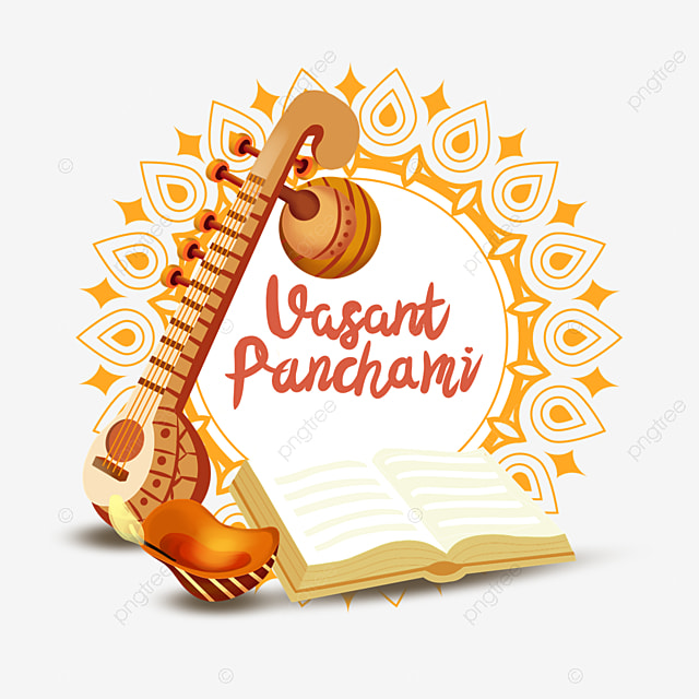 indian festival vasant panchami sitar and open books