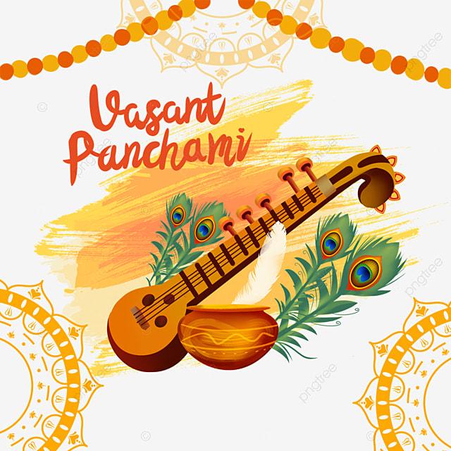 indian festival vasant panchami sitar and orange brush