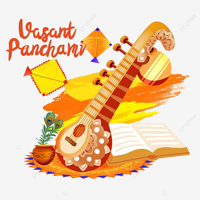 indian festival vasant panchami sitar and orange kite