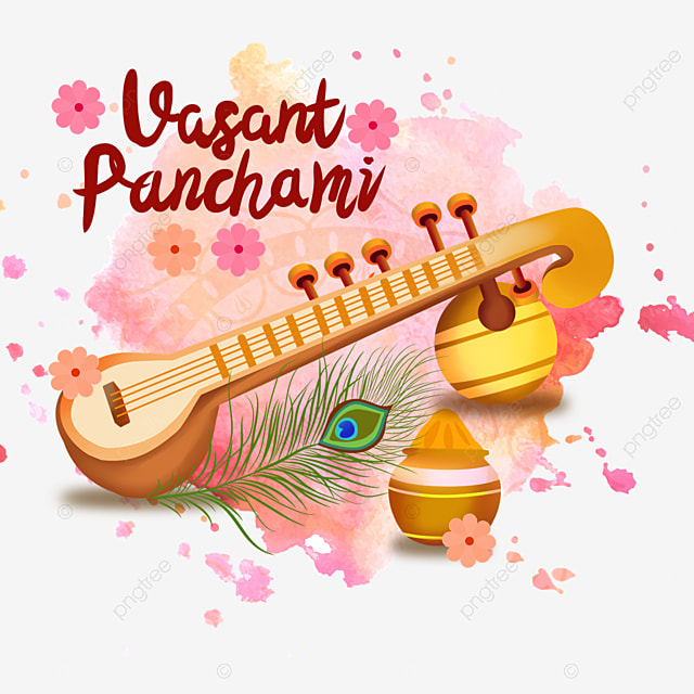 indian festival vasant panchami sitar and pink flowers background