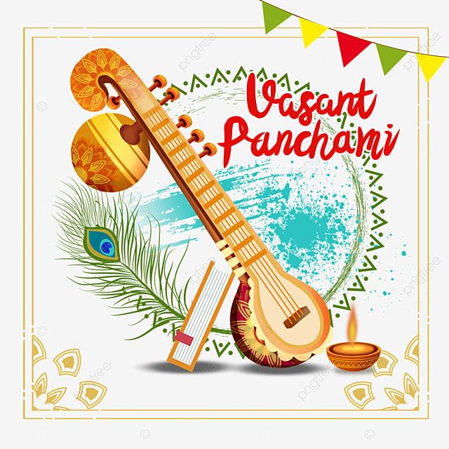 indian festival vasant panchami sitar and vintage border