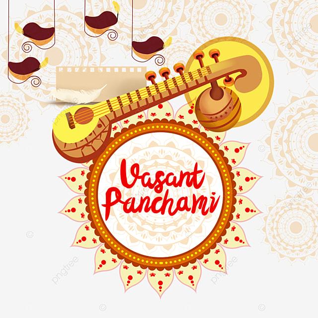 indian festival vasant panchami sitar and vintage circular pattern