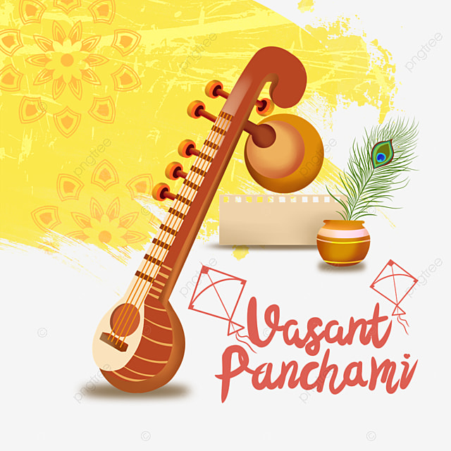 indian festival vasant panchami sitar and yellow vintage pattern