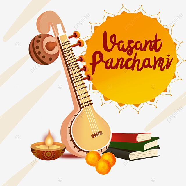 indian festival vasant panchami sitar element