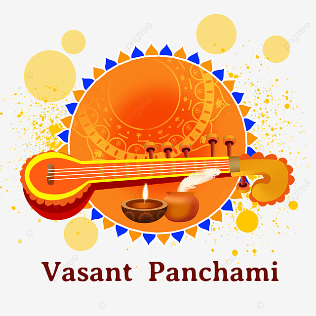 indian festival vasant panchami sitar orange vintage pattern
