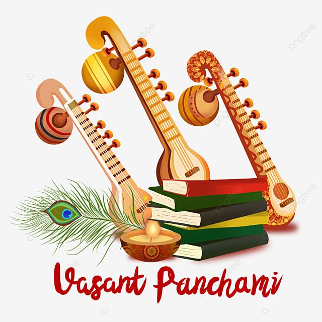 indian festival vasant panchami three orange sitars and books