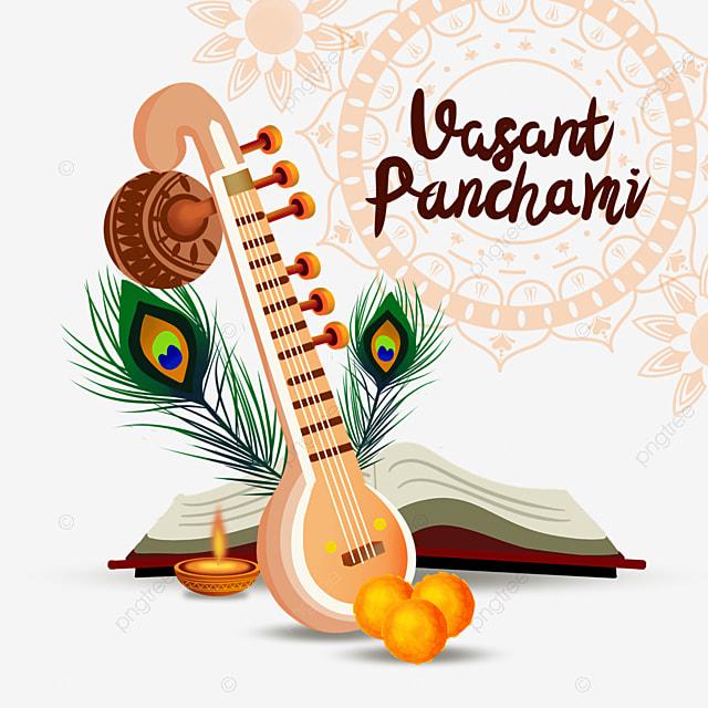indian festival vasant panchami vintage pattern and sitar
