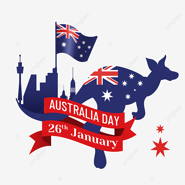 australia day abstract kangaroo silhouette and city