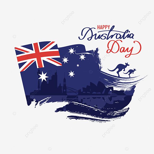 australia day city kangaroo silhouette and flag