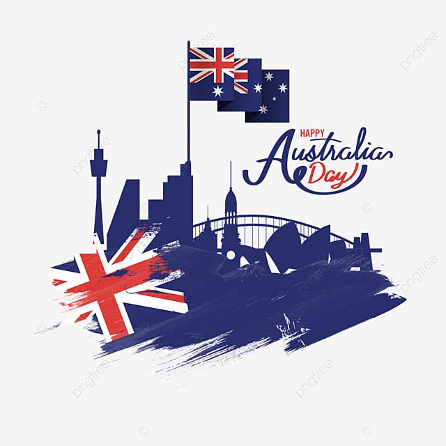 australia day city silhouette brush effect