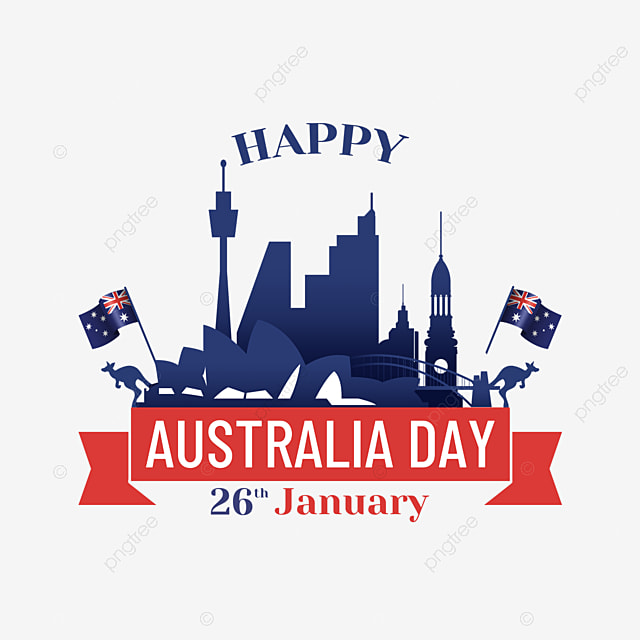australia day city silhouette red banner