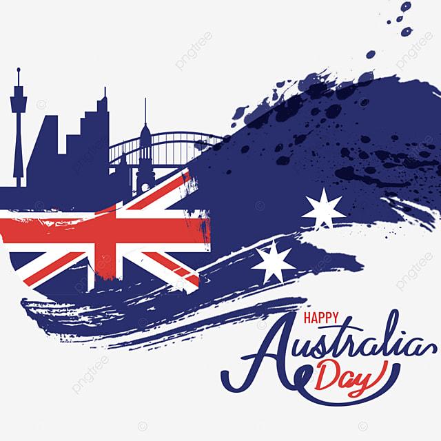 australia day flag brush splatter background
