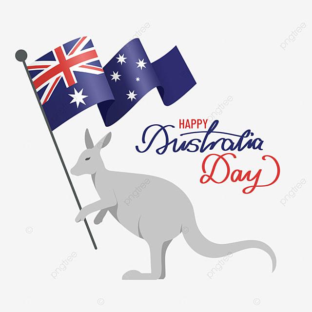australia day kangaroo holding an australian flag