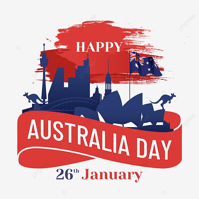 australia day red brush background city silhouette