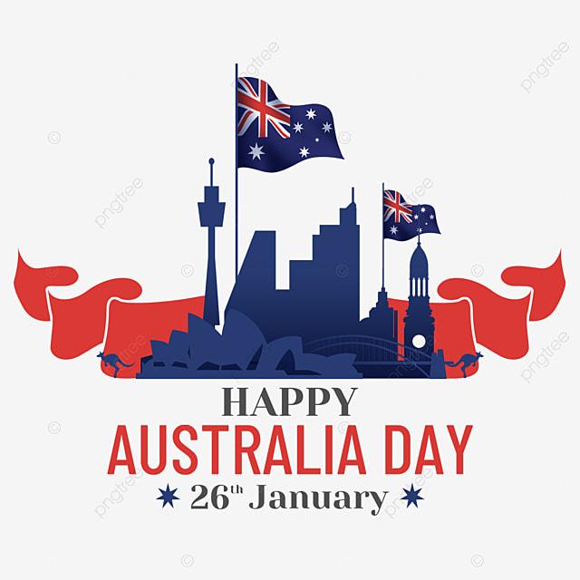 australia day simple city silhouette
