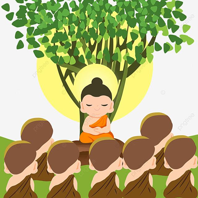 cartoon character thai festival makha bucha illustration
