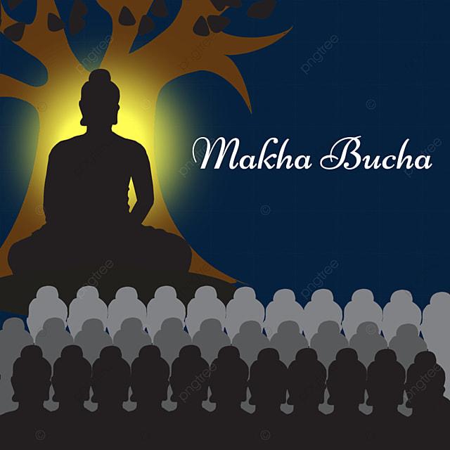makha bucha thai festival black flat style characters