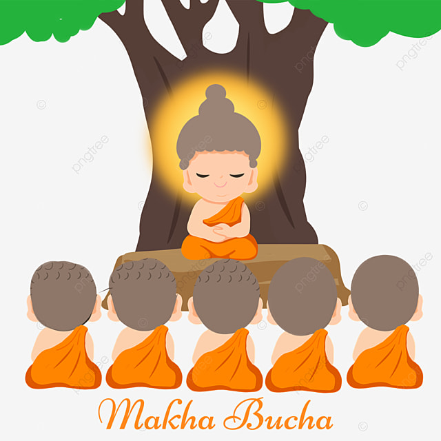 makha bucha thai festival cartoon character illustration