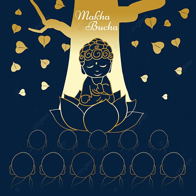 makha bucha thai festival cartoon golden abstract line monk