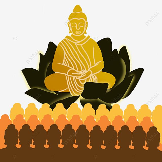 makha bucha thai festival golden abstract character illustration