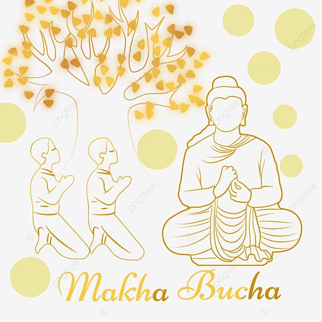 makha bucha thai festival golden abstract lines