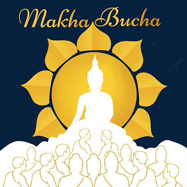 makha bucha thai festival golden abstract monk