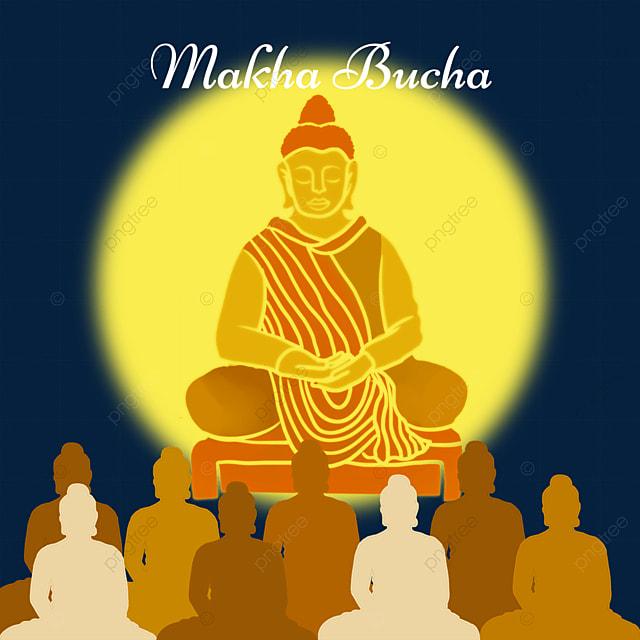 makha bucha thai festival golden flat wind character