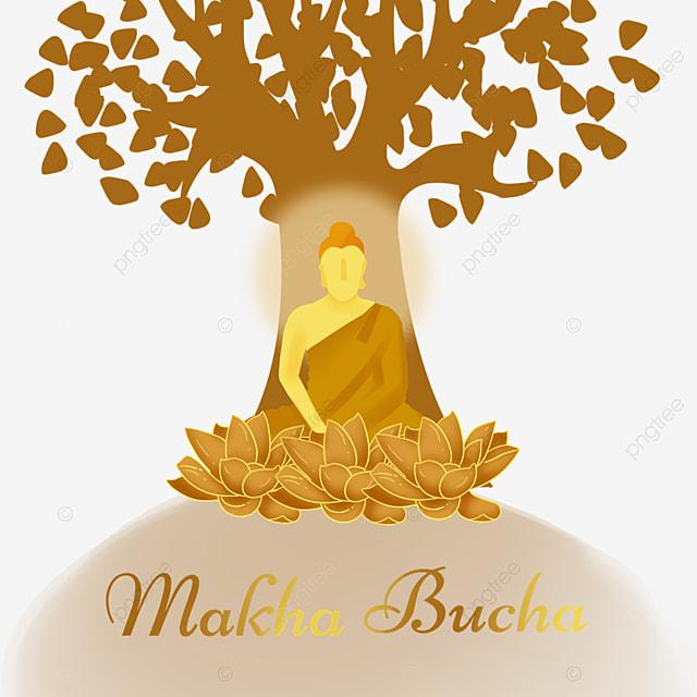 makha bucha thai festival golden monk and tree silhouette