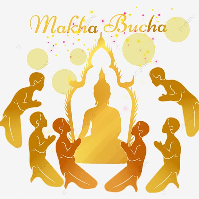 makha bucha thai festival golden monk worship silhouette