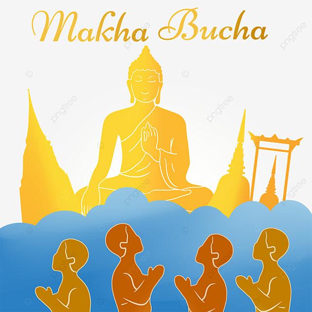 makha bucha thai festival golden silhouette and blue clouds
