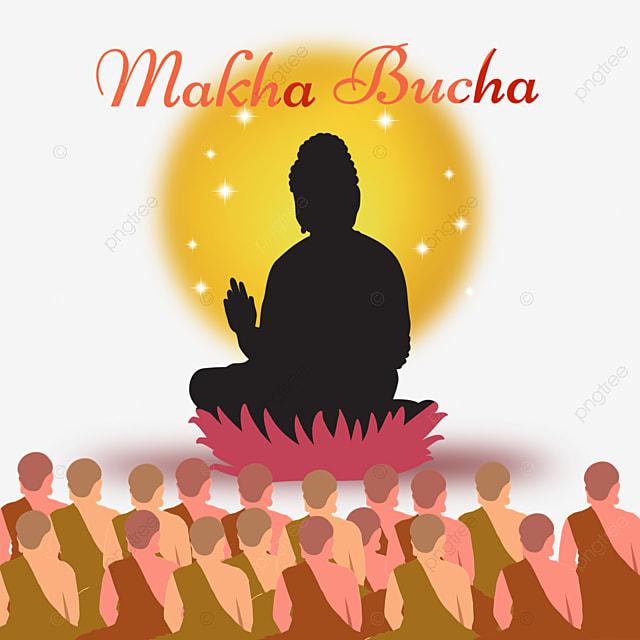 makha bucha thai festival lotus monk silhouette