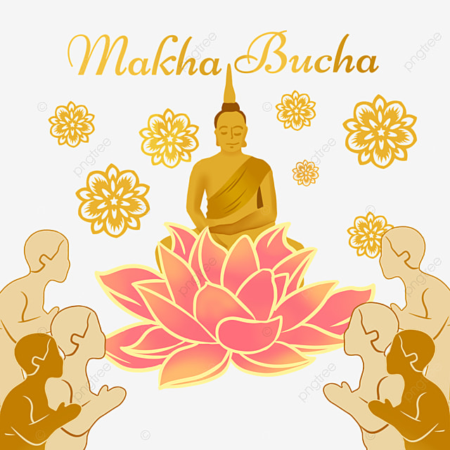 makha bucha thai festival monk and flowers illustration