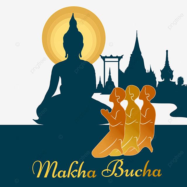makha bucha thai festival ten thousand buddha festival monk silhouette