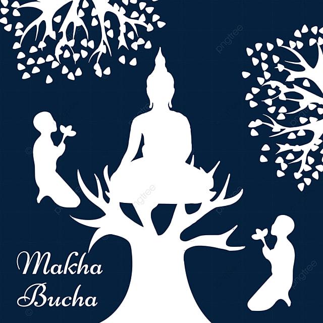makha bucha thai festival white silhouette