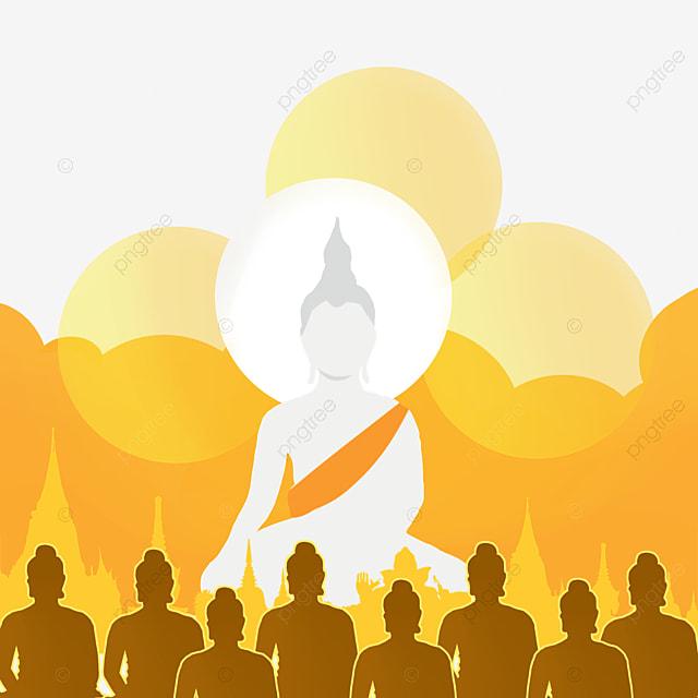 thai festival makha bucha golden silhouette