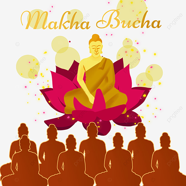 thai festival makha bucha lotus monk silhouette