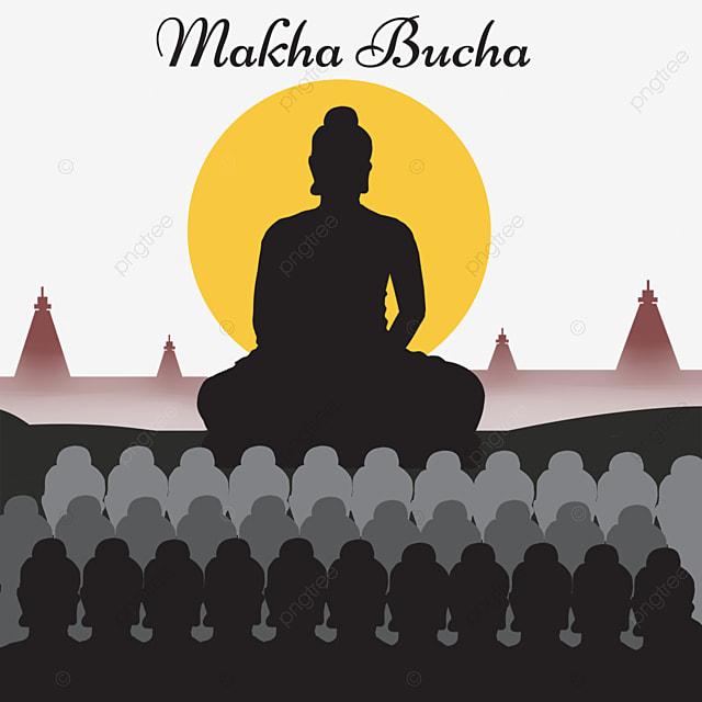 thai festival makha bucha monk black silhouette