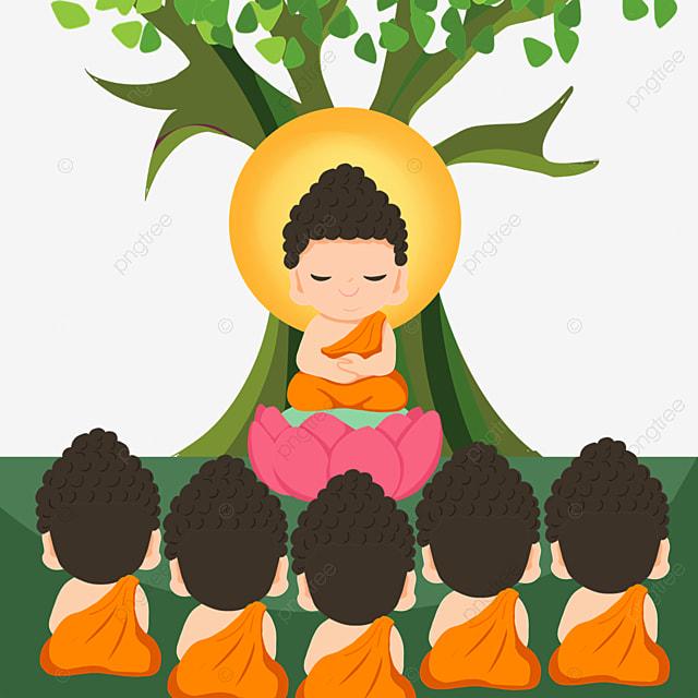 thailand festival makha bucha cartoon character illustration
