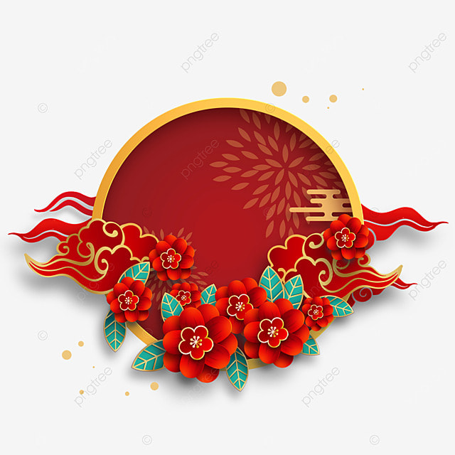 red chinese new year flowers border