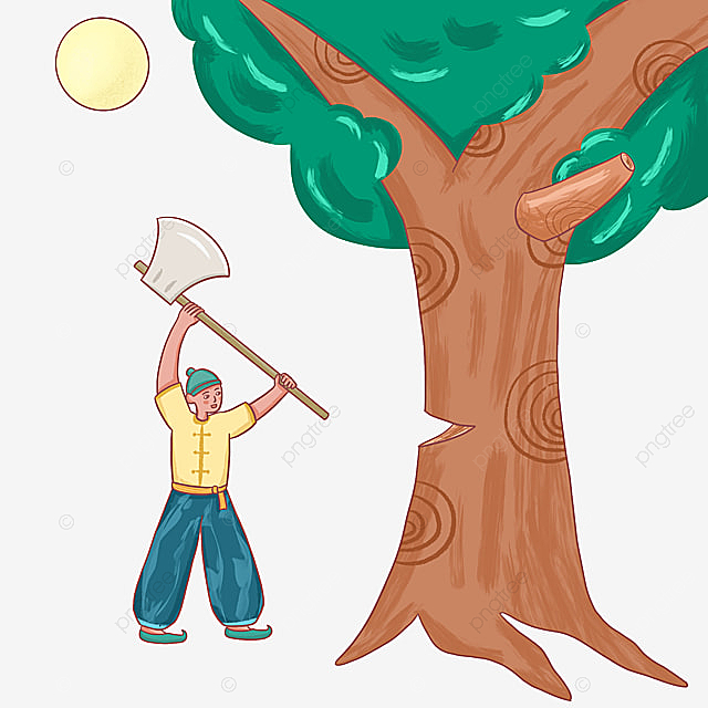 Hand Drawn Image Of Wu Gang Cutting Tree Mid Autumn Festival Mooncake Festival Wu Gang Cutting Down Trees Png Transparent Clipart Image And Psd File For Free Download