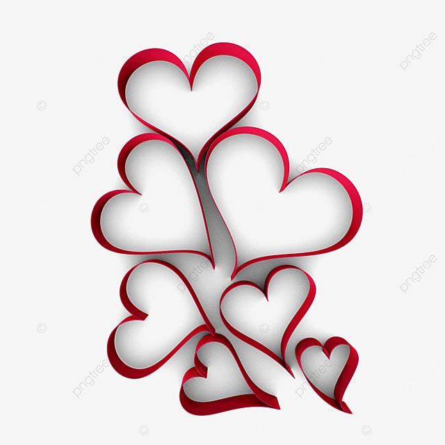 3d valentines day love heart paper border